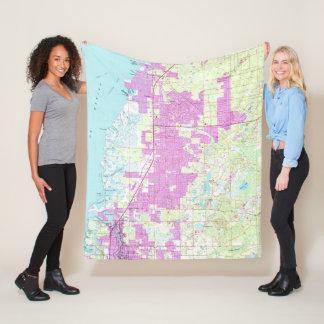 Port Richey & New Port Richey Florida Map (1954) Fleece Blanket