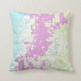 Port Richey & New Port Richey Florida Map (1954) Throw Pillow