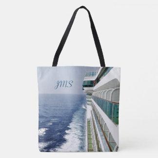 Port Side Balconies Monogrammed Tote Bag