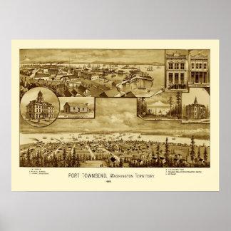 Port Townsend Washington Panoramic Map 1888 Poster