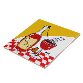 Port Wine Cartoon Humorous Kitchen Tile