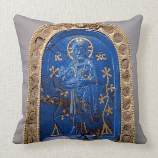 Portable Icon, probably medieval (lapis lazuli) Throw Pillow