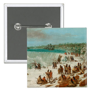 Portage Around the Falls of Niagara at Table Rock 2 Inch Square Button