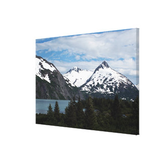 Portage Lake and mountains, Alaska, USA Canvas Print