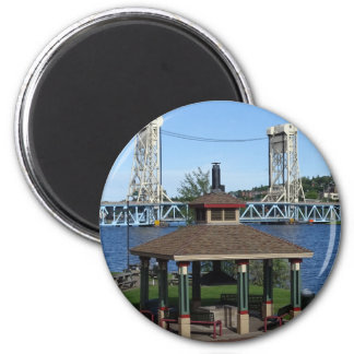 Portage Lake Lift Bridge 2 Inch Round Magnet