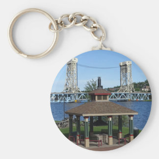 Portage Lake Lift Bridge Basic Round Button Keychain
