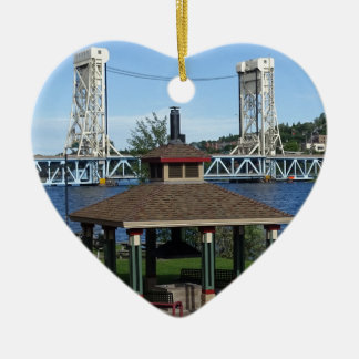 Portage Lake Lift Bridge Ceramic Heart Ornament