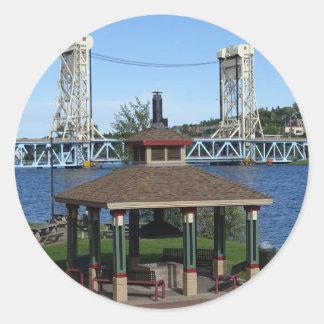 Portage Lake Lift Bridge Classic Round Sticker
