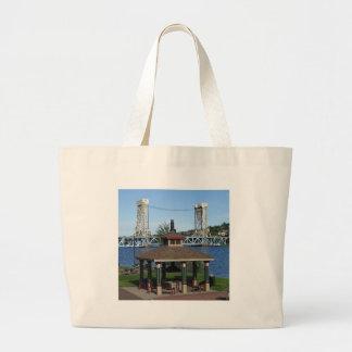 Portage Lake Lift Bridge Large Tote Bag
