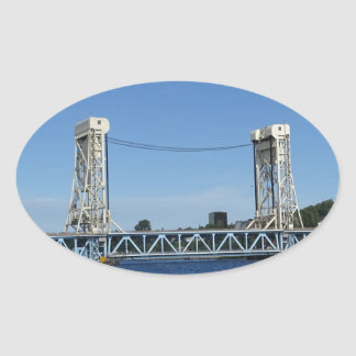 Portage Lake Lift Bridge Oval Sticker