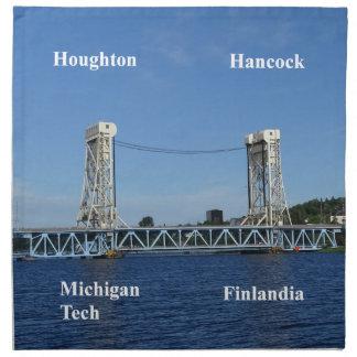 Portage Lake Lift Bridge Printed Napkin