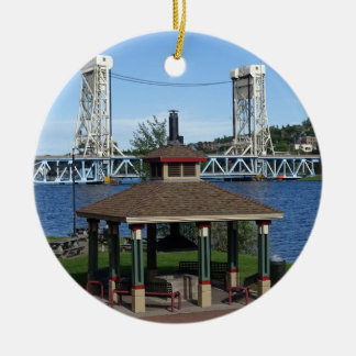 Portage Lake Lift Bridge Round Ceramic Ornament