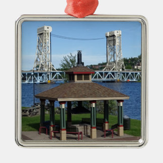 Portage Lake Lift Bridge Silver-Colored Square Ornament