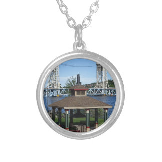 Portage Lake Lift Bridge Silver Plated Necklace
