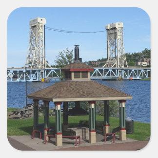 Portage Lake Lift Bridge Square Sticker