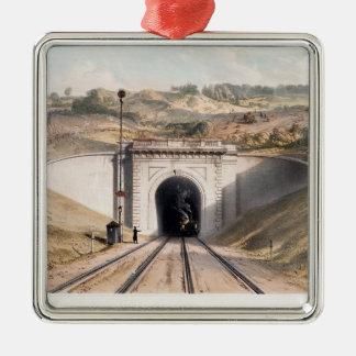Portal of Brunel's box tunnel near Bath Silver-Colored Square Ornament