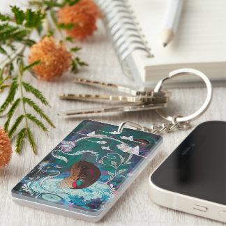 Porte - clé artistique porte-clé  rectangulaire en acrylique une face