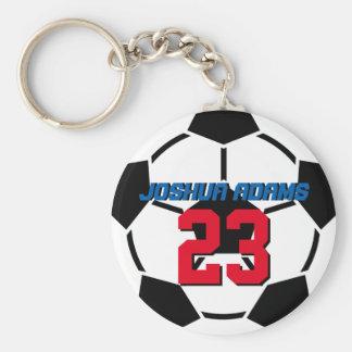 Porte - clé blanc de ballon de football de noir porte-clé rond