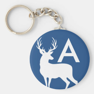 Porte - clé blanc de silhouette de mâle de cerfs porte-clé rond