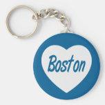 Porte - clé blanc de voyage de coeur de Boston mA Porte-clé Rond