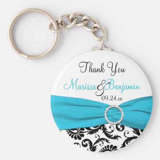Porte - clé bleu, blanc, et noir de faveur de mari porte-clefs