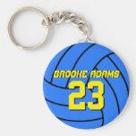 Porte - clé bleu d'équipe de sports de volleyball porte-clé rond