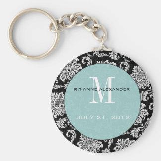 Porte - clé bleu noir de mariage de monogramme porte-clé rond