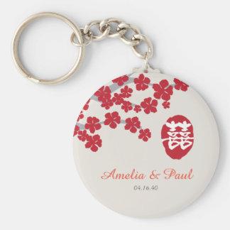 Porte - clé chinois de mariage de double bonheur porte-clé rond