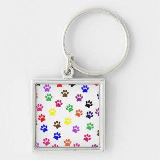 Porte - clé coloré d'amusement d'animal familier porte-clé carré argenté