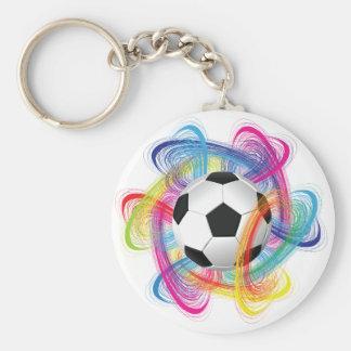 Porte - clé coloré de ballon de football porte-clé rond