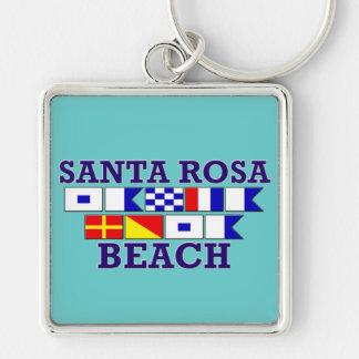 Porte - clé de carré de plage de Santa Rosa Porte-clé Carré Argenté