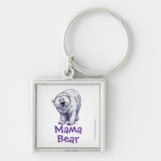 Porte - clé de carré d'ours blanc de maman Bear Porte-clé Carré Argenté