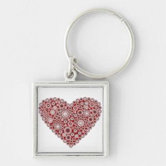Porte - clé de coeur d'amour porte-clé carré argenté