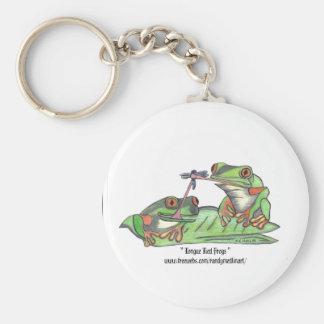 Porte - clé de grenouilles attaché par langue porte-clés