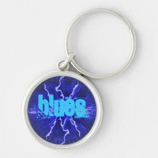 Porte - clé de la meilleure qualité de bleus porte-clé rond argenté