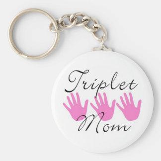 porte - clé de maman de triplet porte-clé rond