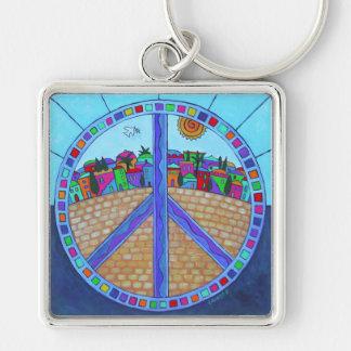 Porte - clé de mandala de paix porte-clé carré argenté