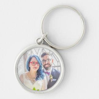 Porte - clé de mariage de Katrina et de Greg Porte-clé Rond Argenté