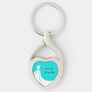 Porte - clé de mémoire de mariage porte-clé argenté cœur torsadé