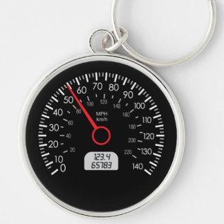 Porte - clé de mètre de vitesse de voiture porte-clé rond argenté