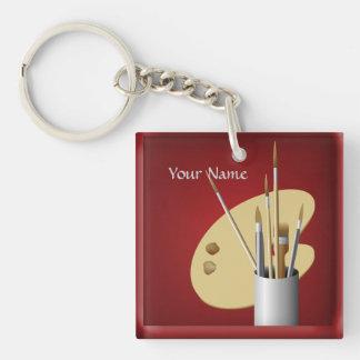 Porte - clé de palette d'artiste et de rouge de porte-clé carré en acrylique double face