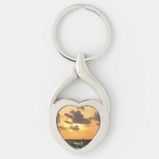 Porte - clé de pivot de coeur tordu par lever de porte-clé argenté cœur torsadé