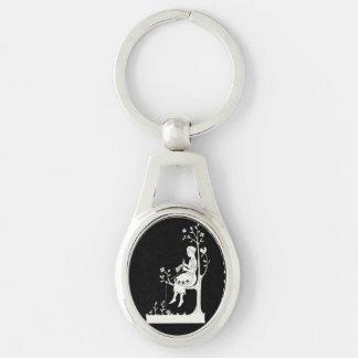 Porte - clé de tricot de femme porte-clé ovale argenté