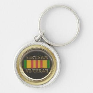 Porte - clé de vétéran du Vietnam Porte-clé Rond Argenté