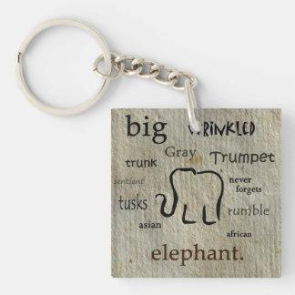 Porte - clé d'éléphant porte-clé carré en acrylique double face