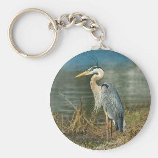 Porte - clé d'oiseau de héron de grand bleu porte-clé rond