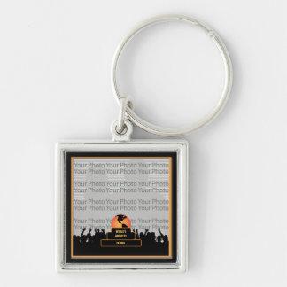 Porte - clé du monde encourageant de père le plus porte-clé carré argenté