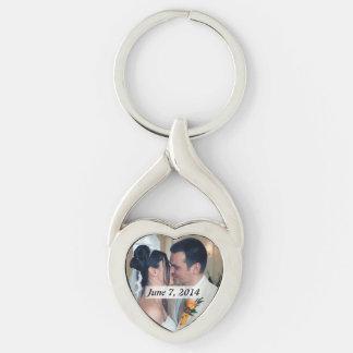 Porte - clé en forme de coeur de photo en métal porte-clé argenté cœur torsadé