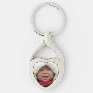 Porte - clé en forme de coeur de photo porte-clé argenté cœur torsadé