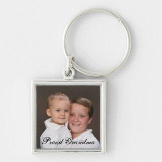 Porte - clé fier de photo de grand-maman porte-clé carré argenté